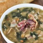 Ham Ribollita Soup; Tuscan Soup with meat and veggies